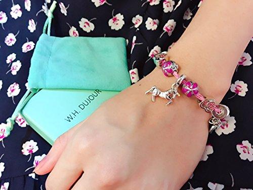 Pink Unicorn Birthday Charm Bracelet Jewelry Gifts for Girls (6.5) by Doctor Unicorn (Image #5)