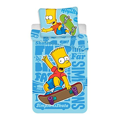The Simpsons Bart Skating Blue Kids Duvet Cover Set 100% Cotton]()