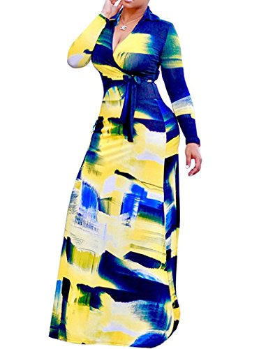(Locryz Women's V Neck 3/4 Sleeve Printed Loose Long Maxi Party Dress with Belt (XXL, Blue))