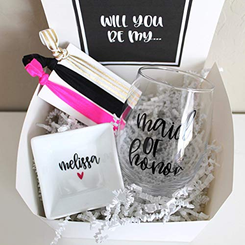 Amazon Com Will You Be My Bridesmaid Gift Box Personalized Wine