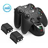 Xbox Charger Station Xbox One Charging Dock - Jelly Comb Xbox Wireless Controller Charger + 2 × 2000mAh Rechargeable Battery Pack for Standard and Elite Controllers