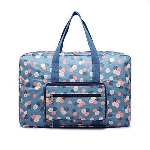 HAKN Storage Bag High Density Oxford Cloth High Capacity Folding Travel Storage Bag Finishing Bag Floral Print  Wearable Rod for Quilts, Blankets, Bedding, Clothes (7 Colors) (Color : A)