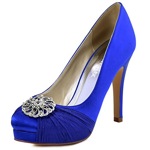 ElegantPark HC1609P Women Pumps Closed Toe Platform High Heel Buckle Chiffon Satin Evening Dress Wedding Shoes Royal Blue US 7