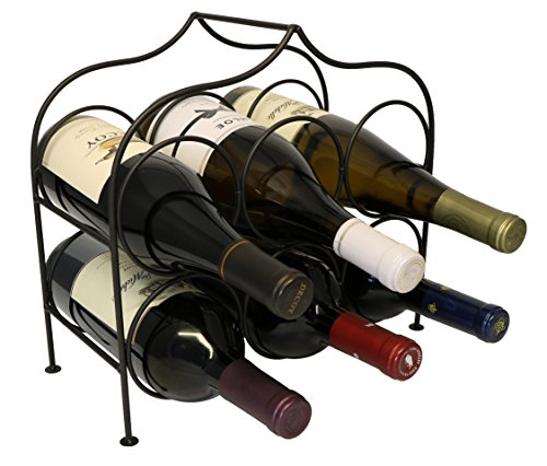Clarabel 6 Bottle Metal Wine Rack for Tabletop or Countertop by KitchenEdge, Free Standing, Black, Wrought Iron by KitchenEdge