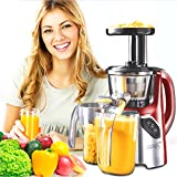 New Age Living SJC-45 Masticating Slow Juicer - Juices Whole Fruits, Vegetables, Greens, Wheat Grass & More - Make Pro Quality Healthy Juices At Home - Stainless Precision Strainer - BPA FREE (RED)