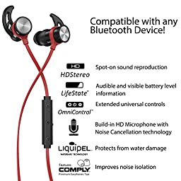 Phaiser BHS-730 Bluetooth Earbuds Runner Headset Sport Earphones with Mic and Lifetime Sweatproof Guarantee - Wireless Headphones for Running, Redheat