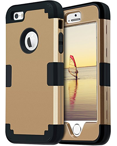 BENTOBEN iPhone SE Case iPhone 5 Case 5S Case 3 in 1 Shockproof Case for iPhone SE 5S 5 Gold/Black (Iphone 5s Gold Wrap)
