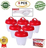 Silicon Egg Cooker - QUALITY 6 Pack Non Stick Silicone, BPA Free Egg Poachers, Egg seperator included, Boiled Eggs Without Shell, Hard and Soft Maker - 6 Egg Cups As Seen on TV, Food Safe - Breakfast