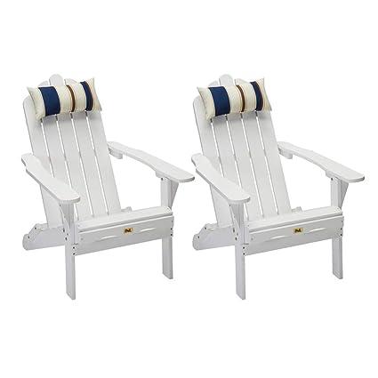 Amazon Com Set Of 2 White Folding Adirondack Chair Outdoor Wood