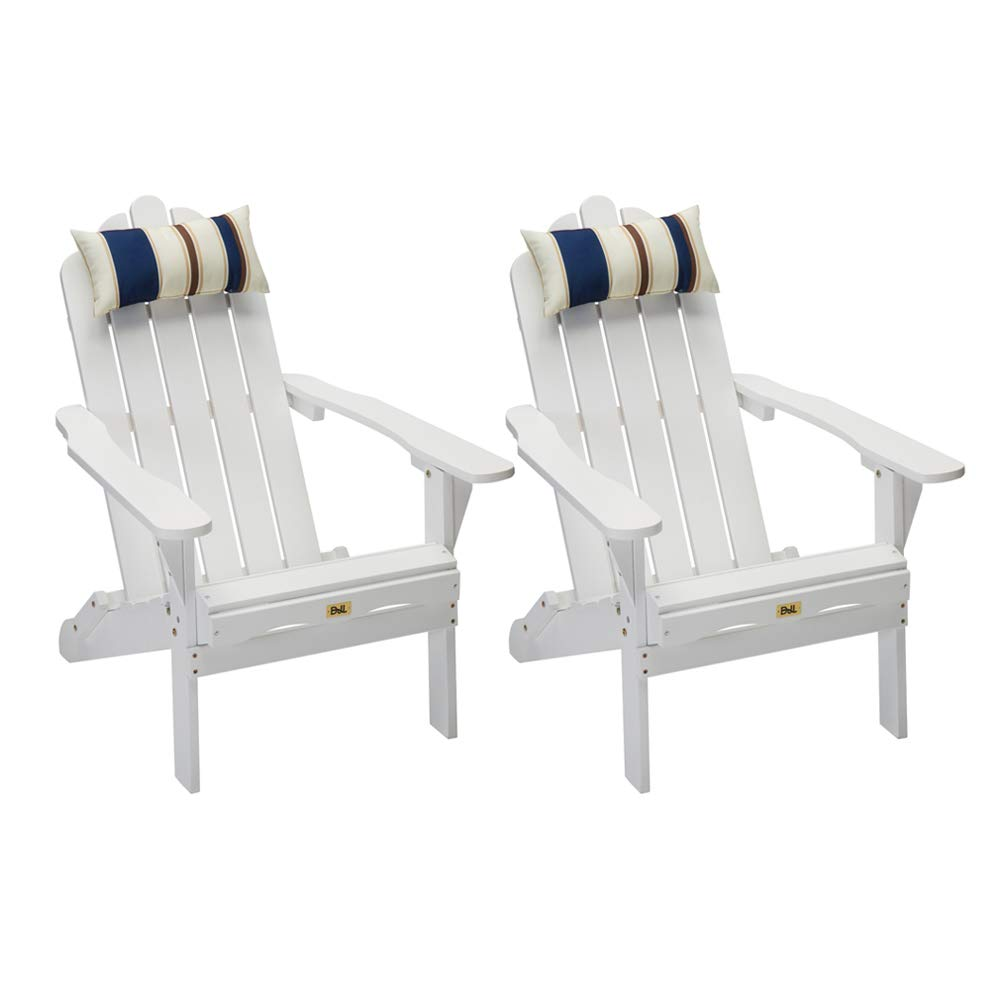 Set of 2 White Folding Adirondack Chair Outdoor Wood Deck Chair Patio, Lawn & Garden Seating Lounge Chair with Head Pillow