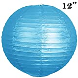 """12 pack 12"""" Paper Lanterns Lamp Shades Party Supplies - Turquoise"""