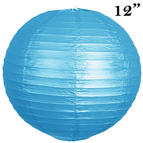 BalsaCircle-12-pcs-Turquoise-12-Inch-tall-Paper-Shades-Lanterns-Lamp-Wedding-Event-Birthday-Party-Room-Home-Decorations-Supplies