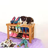 Livebest Bamboo Shoe Rack Bench 2 Tier Free Standing Boot Organizing Rack Entryway Storage Shelf Hallway 100% Natural Material Furniture for Home,Office,School (27.5'' L)