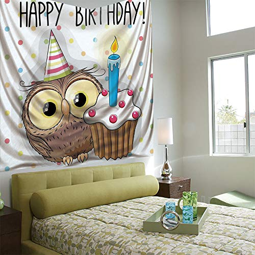 Tapestry Wall Hanging 3D Printing Tree Tapestry Wall TapestryLiving Room Bedroom,Birthday Decorations for Kids,Baby Owl Party Cupcake Cake on Colorful Polka Dots Backdrop,Multicolor ()