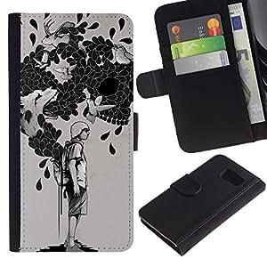 KLONGSHOP // Tirón de la caja Cartera de cuero con ranuras para tarjetas - La bolsa de trucos - Samsung Galaxy S6 //