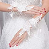 DeemoShop Wrist Length Bridal Gloves White Lace Fingerless Wedding Gloves Flowers Pearl Hook Finger Crocheted Wedding Accessories