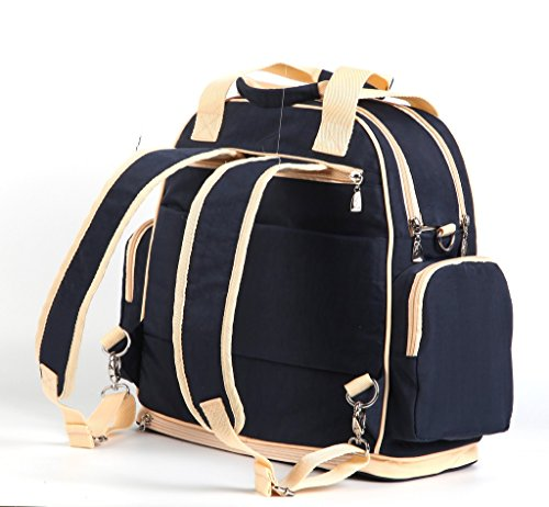 LCY multifunción de gran capacidad Baby pañal bolso cambiador Bolso bandolera mochila Red/Apricot Dark Blue/Apricot