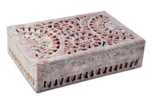Hashcart Hand-Crafted Soapstone Decorative Jewellery Box - with Attractive Lattice Design - Perfect for Your Dressing - Box Stone Trinket