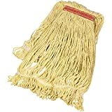 AmazonBasics Loop-End Synthetic Commercial String Mop Head, 1.25 Inch Headband, Large, Yellow, 6-Pack