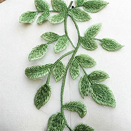 Green 1 Pairs Green Vine Leaf Style Ribbon Flower Lace Trimmings Embroidered Sew Appliques Craft Tee Dress DIY Decal