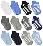 Aminson Anti Slip Non Skid Ankle Socks With Grips for Baby Toddler Kids Boys Girls: more info