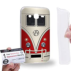 Case88 [Samsung Galaxy J2] Gel TPU Carcasa/Funda & Tarjeta de garantía - Art Fashion Red Retro Bus Mini Van Art1204