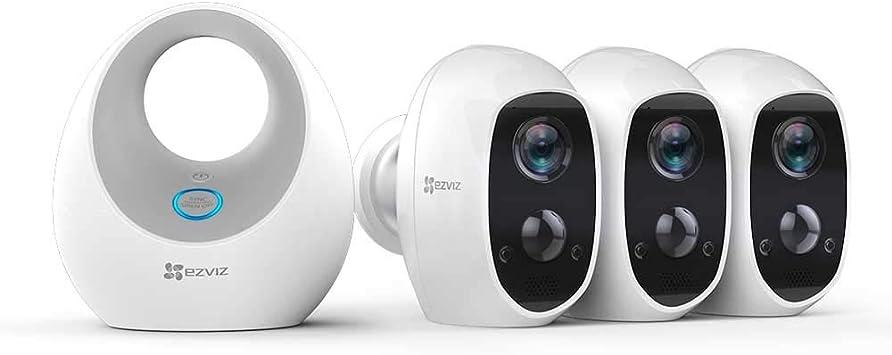 Opinión sobre EZVIZ C3A - Cámara con Batería, Sistema de Seguridad y Vídeo Vigilancia, Triple Pack con W2D, WiFi 2.4GHz 1080p FHD, Exterior/Interior, Visión Nocturna, Audio Bidireccional y Recargable