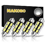 NAKOBO Super Bright 39mm Festoon 6500K White Light 6-SMD 5730 Chipsets Canbus Error Free for 6418 DE3425 DE3423 Bulb, C5W LED Bulb Car Interior Dome License Plate Door Lights Pack of 4