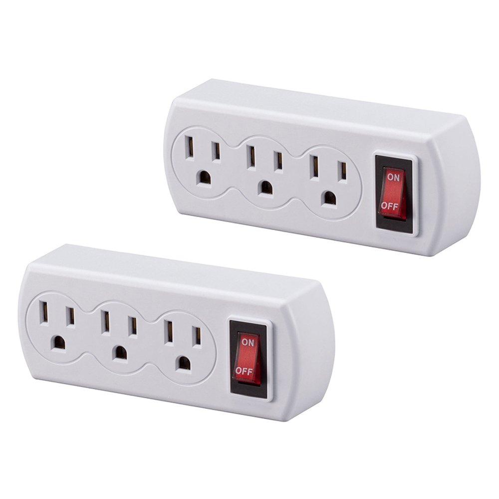 Uninex 2 Pack White Grounded Triple Plug Outlet Onoff Power