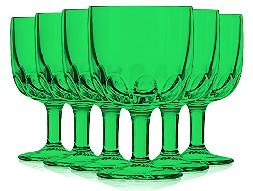 Libbey Emerald Green Goblet Glasses 10 oz. set of 6 - Additional Vibrant Colors Available by TableTop -