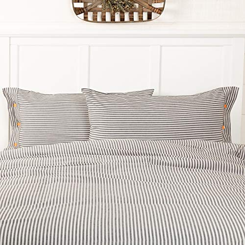 Piper Classics Farmhouse Ticking Stripe Gray King Size Pillow Sham, 21