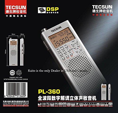 Black Tecsun PL-360 Digital PLL Portable AM//FM Shortwave Radio with DSP