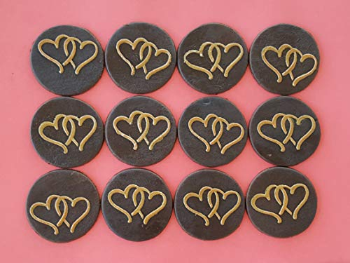 12 PC Edible Gold Design Intertwine Heart Dark Chocolate Candy Topper -Vegan Gluten-Free Nut and Dairy Free ()