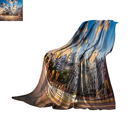 Lightweight Blanket European Cityscape Decor Collection,View of The Streets Modern Madrid with Sky Landscape Big Old Town Heritage Deco,Multi Blanket for Sofa Couch Bed Bed or Couch 70