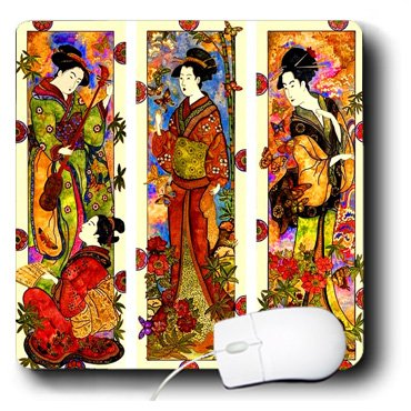 (3dRose 8 x 8 x 0.25 Inches Mouse Pad, Collage of 4 Geisha Ladies (mp_101710_1))
