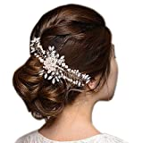 BriLove Womens Bohemian Charming Simulated Pearl Wedding Bridal Vine Leaf Hair Comb Silver-Tone