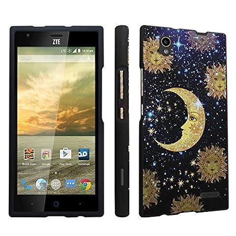 DuroCase ® ZTE Warp Elite N9518 Boost Mobile (Released in 2015) Hard Case Black - (Moon Stars Sun) (Zte Warp Sync Rubber Phone Case)