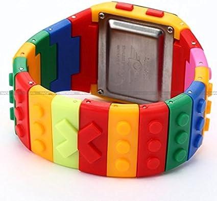 XuBa LCD Digital alarma señora hombres bloque constructor cronómetro deporte caucho reloj LED091
