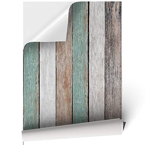 Vinilo Adhesivo para Muebles y Pared, 45 x 200 cm, Madera Vintage, Multicolor, VNL-001