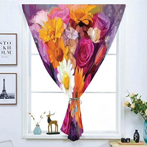 Handmade Daisies Soho (iPrint Blackout Window Curtain,Free Punching Magic Stickers Curtain,Watercolor Flower,Lovely Bouquet Design with Rose Daisy and Gerbera Bridal Romantic,Purple Orange Pink,Paste Style,for Living Room)