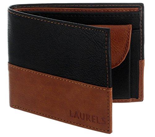 Laurels Men's Wallet Black & Tan-ML-0108