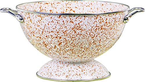 Powder Coated Colander - Calypso Basics by Reston Lloyd Powder Coated Enameled Colander, 3 quart, Orange and White Marble