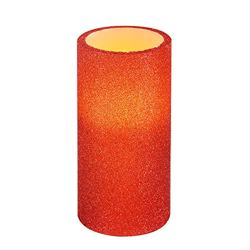Glitter Pillar - Greluna Red Glitter Flameless LED Candle with Timer, Battery Operated Candles for Christmas Decorations and Gift, 3X6 Inches