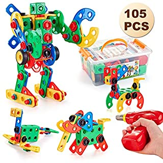105 Pcs STEM Toys Kit, Educational Construction Engineering Building Blocks Learning Set for Ages 3 4 5 6 7 8 9 10 Year Old Boys & Girls with Power Drill, Creative Games & Fun Activity