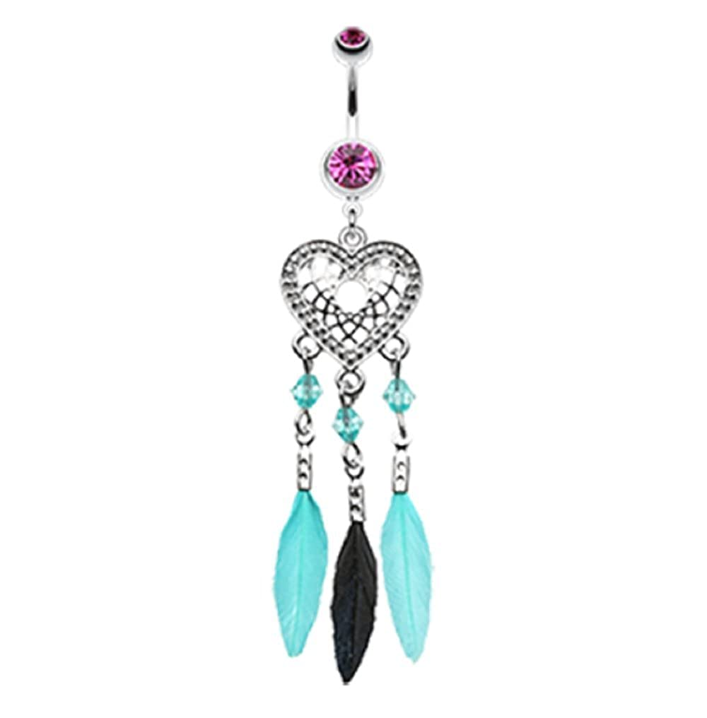 Heart Dreamcatcher Feathered 316L Surgical Steel Freedom Fashion Belly Button Ring Sold Individually