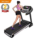 Domtie Space Gray Folding Electric Treadmill 5.0 HP Auto Incline Professional Running Machine with 15.6 inches Touch Screen