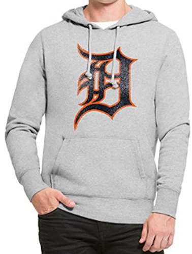 '47 MLB Detroit Tigers Men's Knock Around Headline Pullover Hoodie, Slate Grey, Medium