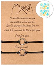 PANTIDE 2Pcs Pinky Promise Bracelets Adjustable Distance Matching Bracelets for Best Friends Couple Family Sis