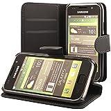 ECENCE 13010202 Samsung Galaxy S GT-i9000 S Plus i9001 handy tasche case Brieftasche Wallet klapp schutz hülle cover schwarz inklusive Displayschutzfolie