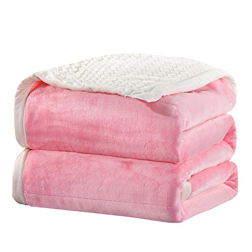 Queen Berber Fleece Thermal Blanket Pink - Extra Soft Brush Fabric, Super Warm Bed Blanket, Lightweight Couch Blanket, Easy Care